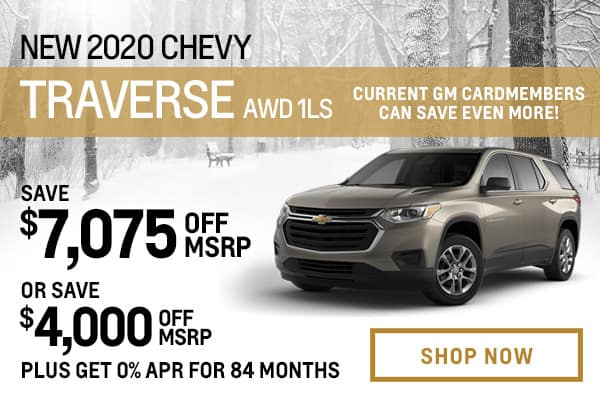 New 2020 Chevy Traverse AWD 1LS