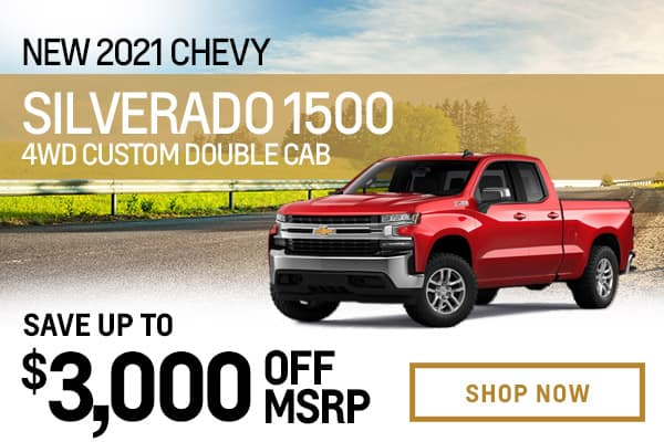New 2021 Chevy Silverado 1500 4WD Custom Double Cab