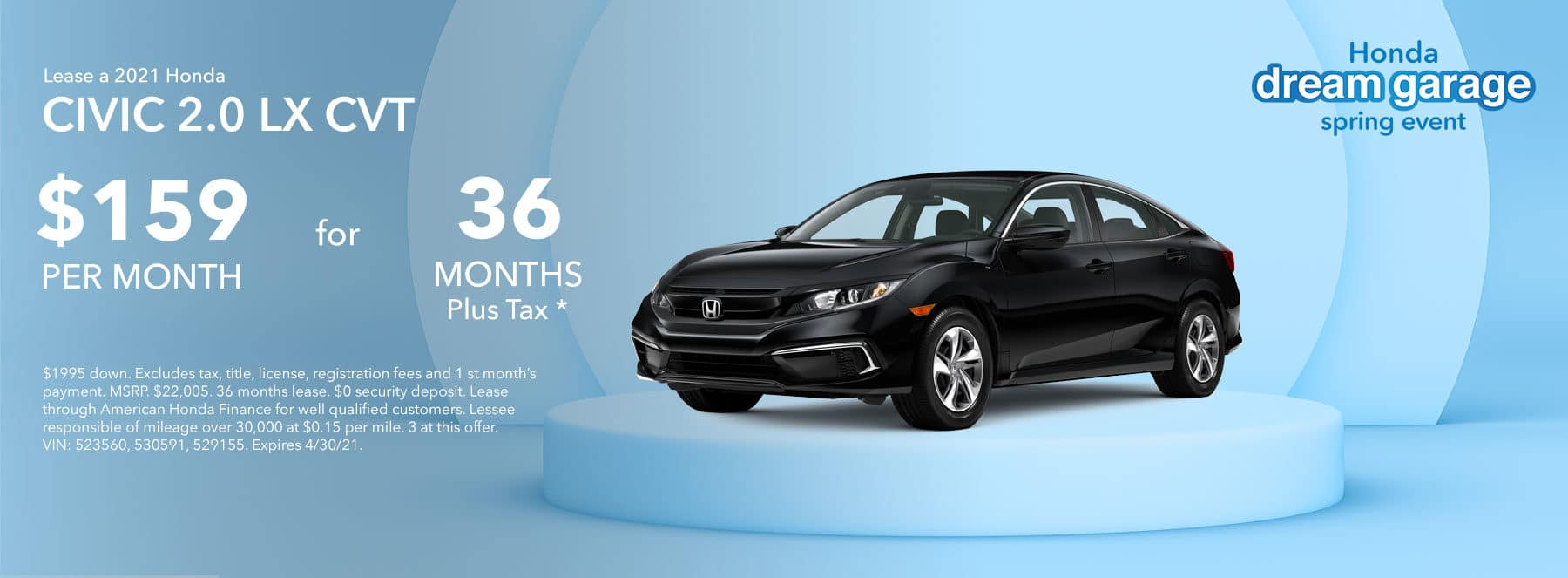 2021 Honda CIVIC LX 2.0L CVT Lease for $159 plus Tax for 36 Months