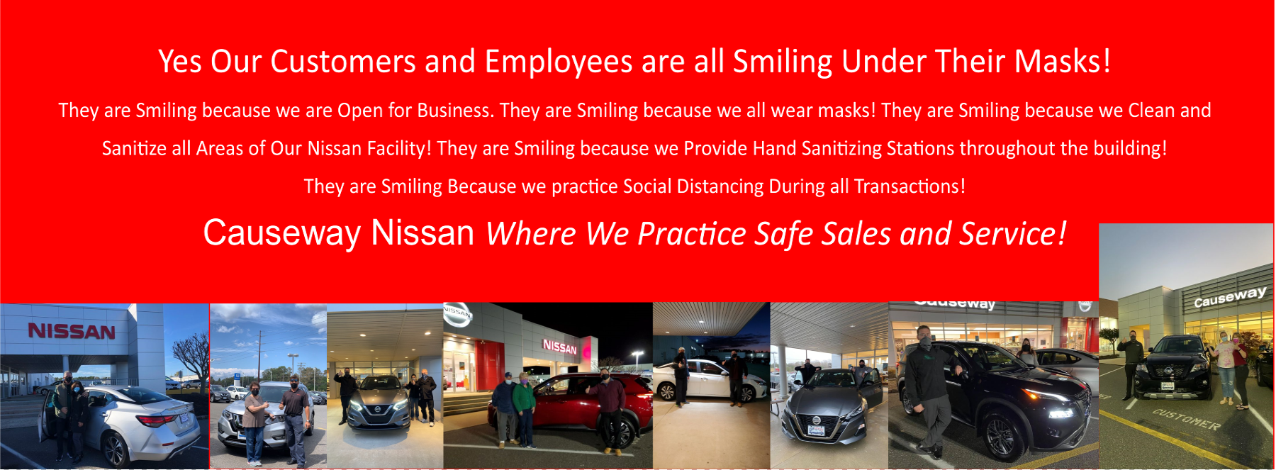 covid banner nissan smiling