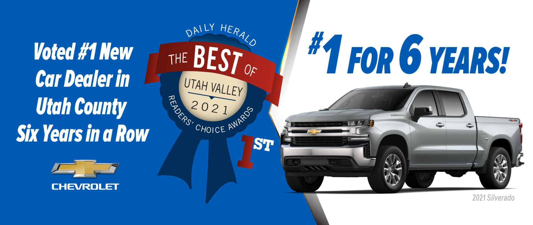 Doug Smith Chevrolet Voted Best of Utah County for 6 Years