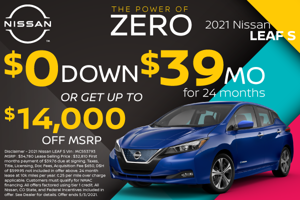 Lease and Purchase Offers on 2021 Nissan LEAF S