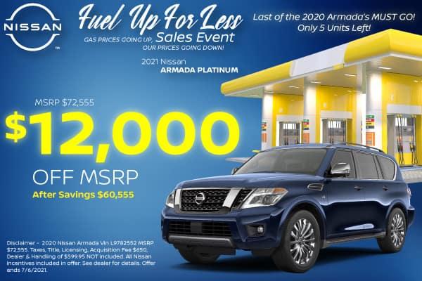 2020 Nissan Armada Platinum 4x4 Purchase Specials