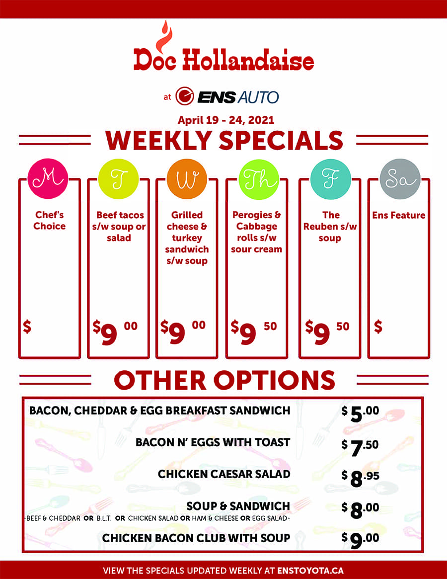 Ens Toyota Doc Hollandaise Weekly Specials April 19