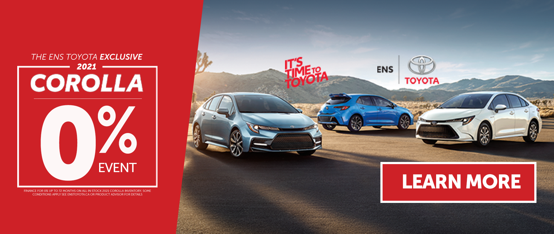 Time to Toyota 0 percent event website banner July 2021