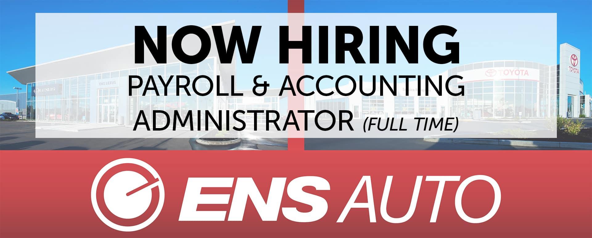 Now Hiring Payroll & Accounting Administrator