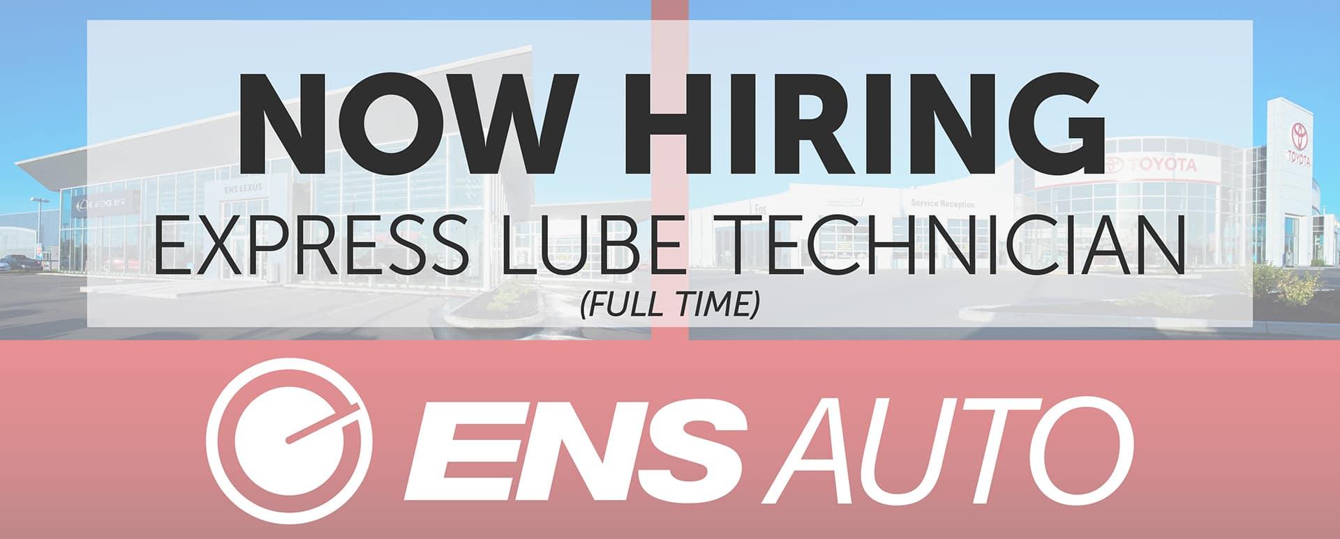 Now Hiring Express Lube Technician Ens Toyota