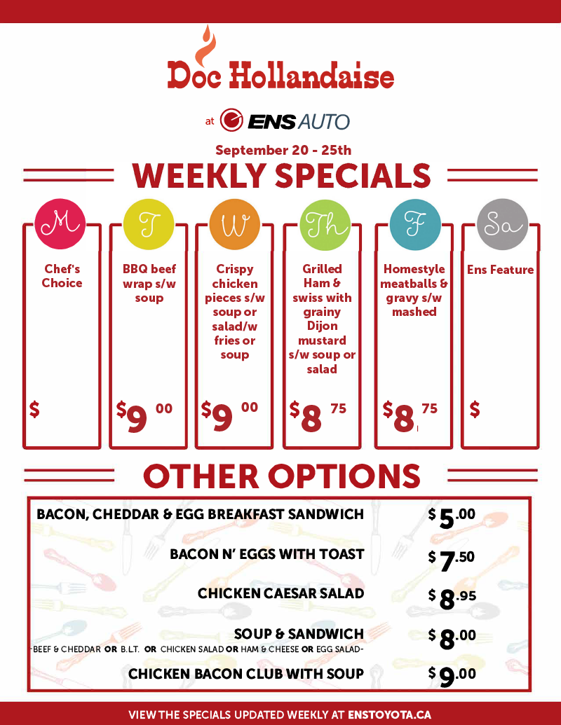 Ens Toyota Doc Hollandaise Weekly Specials September 20-25, 2021
