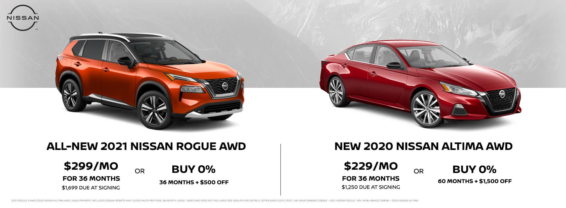 2021 Nissan Rogue AWD and 2020 Nissan Altima