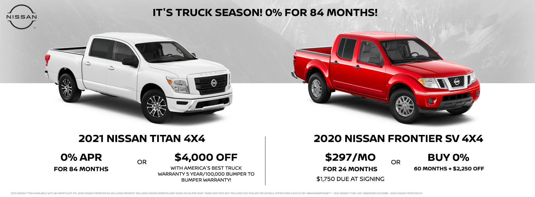 2021 Nissan Titan and 2020 Nissan Frontier SV