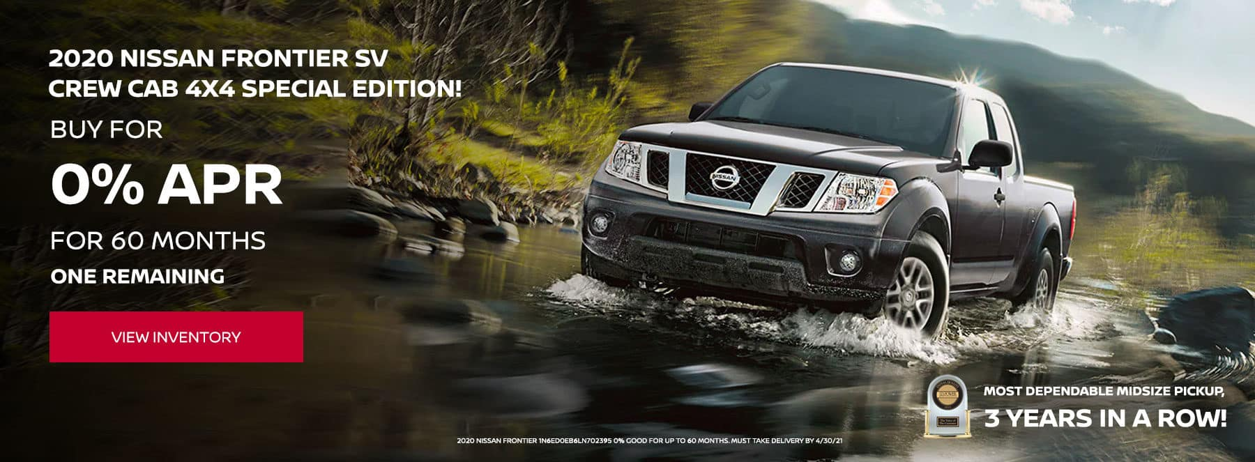2020 Nissan Frontier SV Crew Cab 4X4 Special Edition!