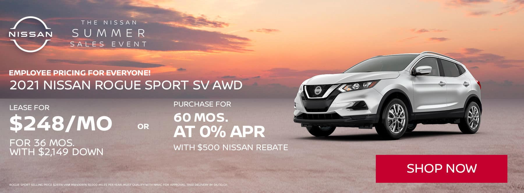 """THE NISSAN SUMER SALES EVENT Employee pricing for everyone! Lease the """"All New Rogue"""" SV AWD for 36 MONTHS $219 per month with $3999 down or purchase 60 months @ 0%"""