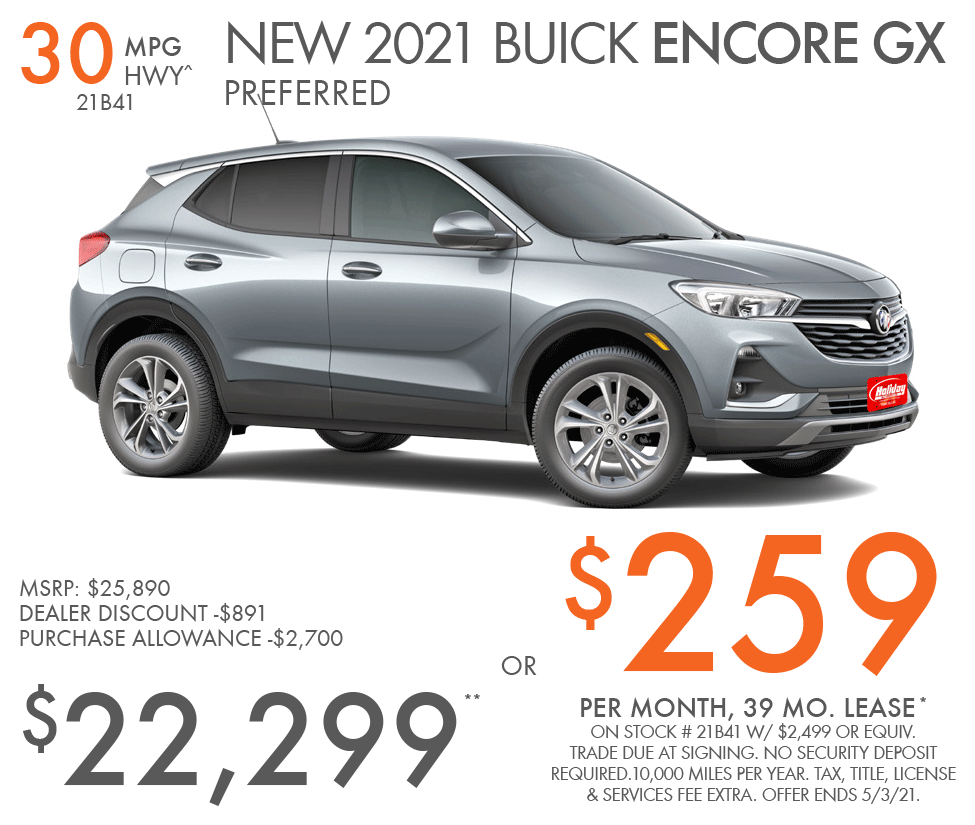 Lease new Buick Encore GX for as low as $259/mo for 39mo