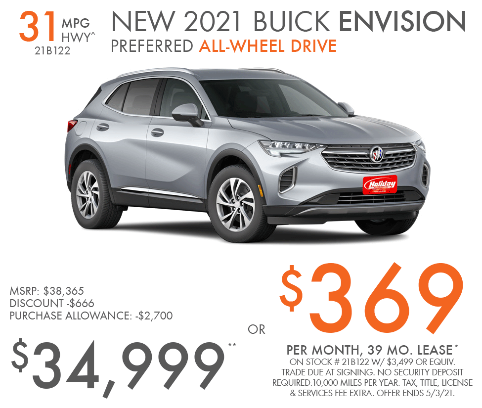 Lease new Buick Envision for as low as $369/mo for 39mo