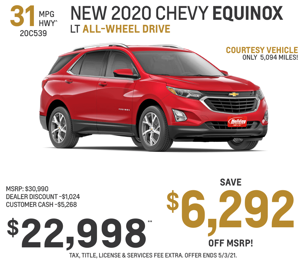 Save up to $6,292 on a new Chevrolet Equinox