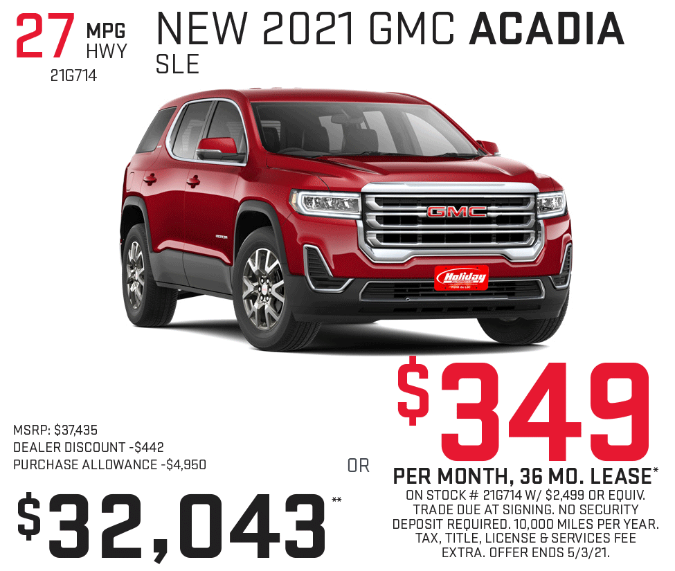 Lease a new GMC Acadia for as low as $349/mo for 36mo