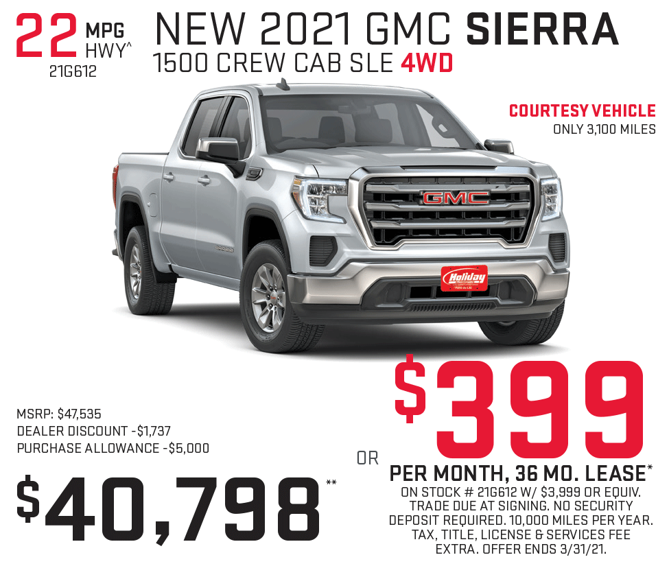 Lease a new GMC Sierra 1500 for as low as $399/mo for 36mo