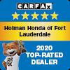 Holman Honda of Fort Lauderdale Carfax 2020 Top-Rated Dealer Award