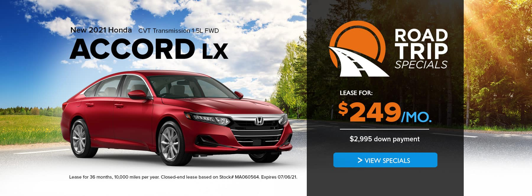 Lease a 2021 honda accord lx for $249/month with $2,995 down payment