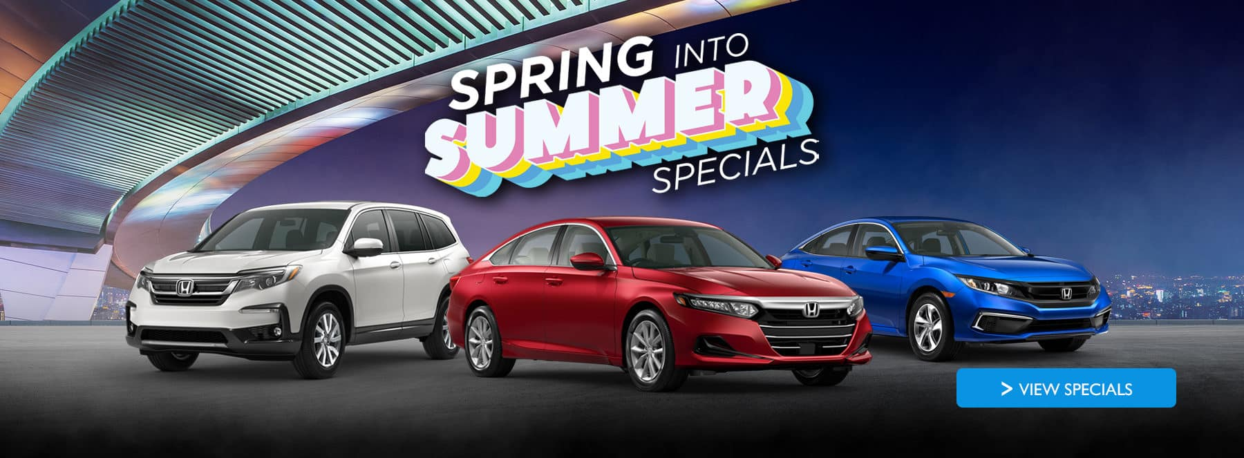Spring into summer specials with a CR-V, Accord, and Civic shown
