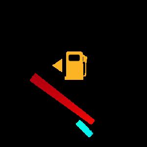 A car's gas gauge on empty