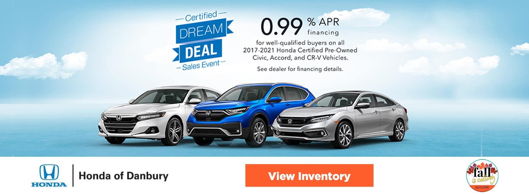 0.99% APR financing for all 2017-2021 CPO Honda Civics, Accords, CR-V's