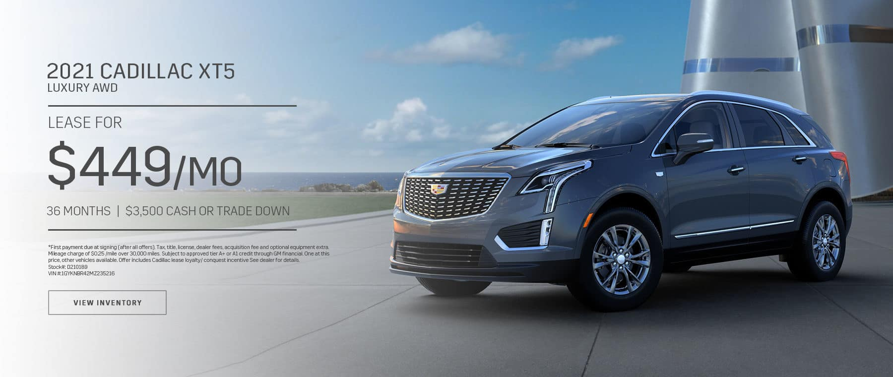 2021 Cadillac XT5 Luxury AWD $449 a month 36 Month lease $3,500 Cash or Trade Down