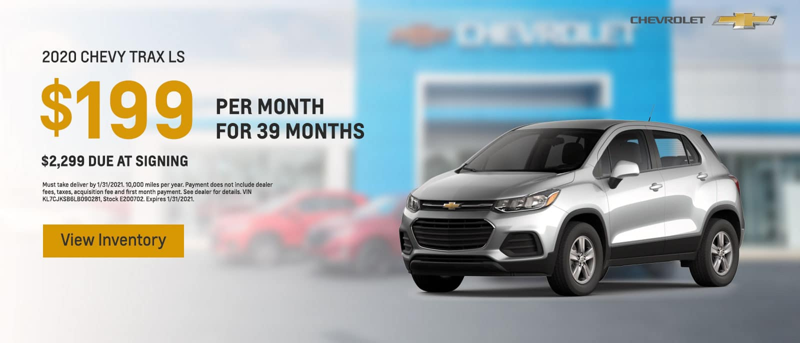 2020 Chevy Trax LS Lease $199/mo