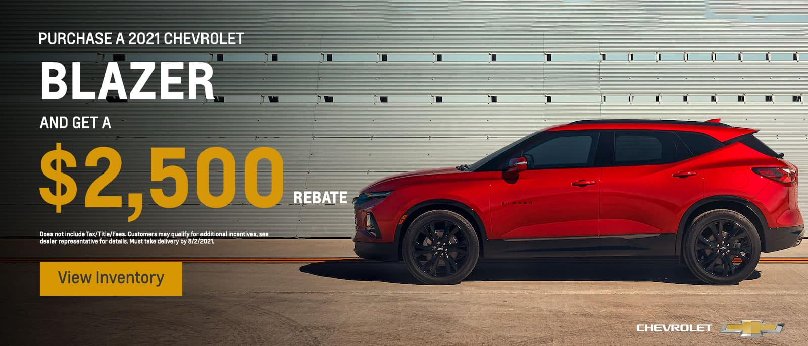 Purchase a 2021 Chevrolet Blazer and get a $2500 REBATE