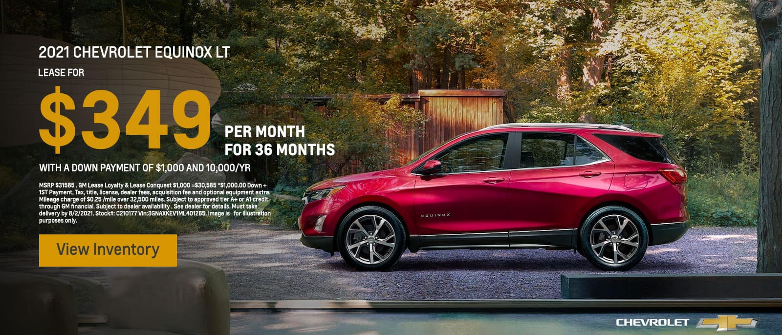 2021 Chevrolet Equinox LT Lease for $349/MO @ 39 MONTHS with a Down Payment of $1,000 and 10,000/YR