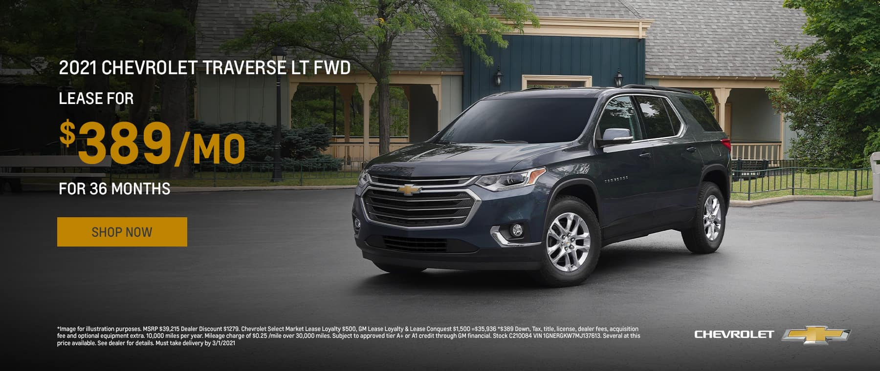 2021 Chevrolet Traverse LT FWD Lease for $389/mo for 36 mos