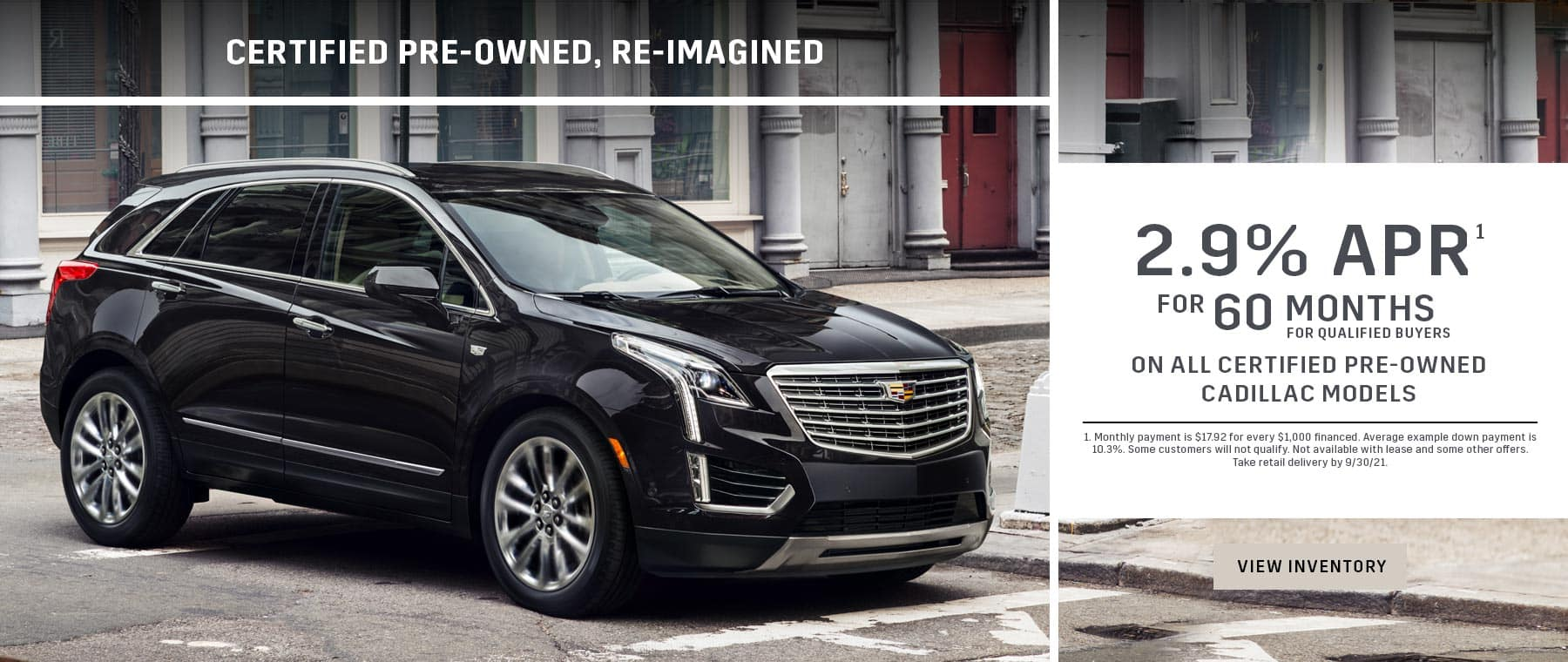 black Certified Pre-Owned Cadillac on a street 2.9% for 60 months