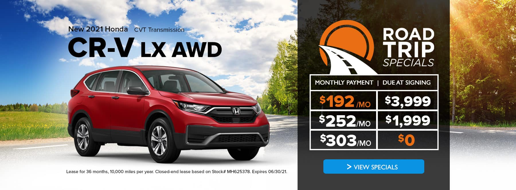 A new red 2021 honda cr-v with special lease offers