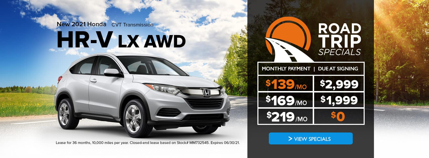 A silver new 2021 Honda HR-V with special lease offers