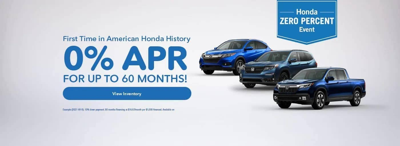 0% APR for up to 60 months banner