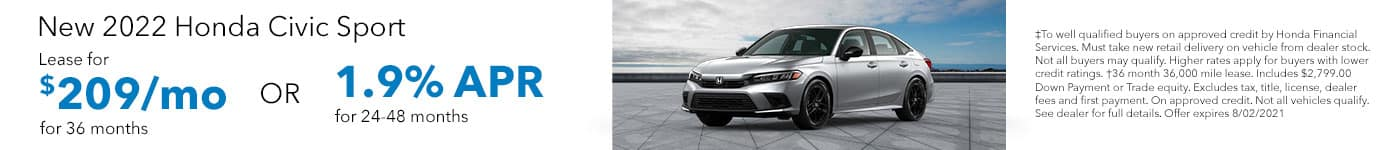 New 2022 Honda Civic Sport, Lease for 36 months at $209/MO OR 1.9% APR for 24-48 months