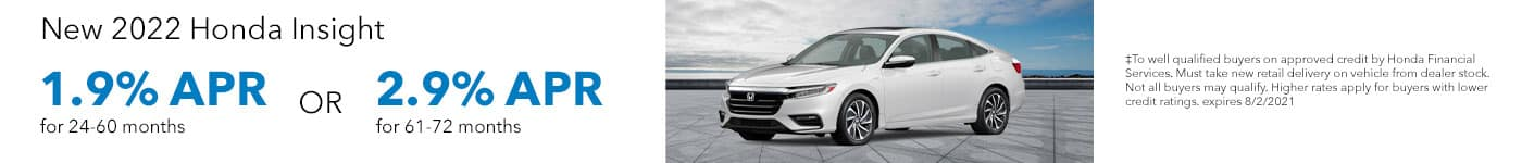 New 2022 Honda Insight, 1.9% APR for 24-60 months OR 2.9% APR for 61-72 months