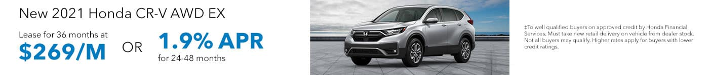 New 2021 Honda CR-V AWD EX Lease for 36 months at $269/MO OR 1.9% APR for 24-48 months