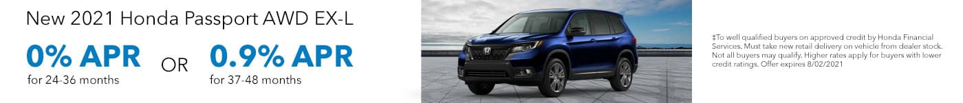 New 2021 Honda Passport AWD EX-L, 0% APR for 24-36 months OR 0.9% APR for 37-48 months