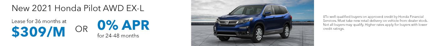 New 2021 Honda Pilot AWD EX-L Lease for 36 months at $309/MO OR 0% APR for 24-48 months