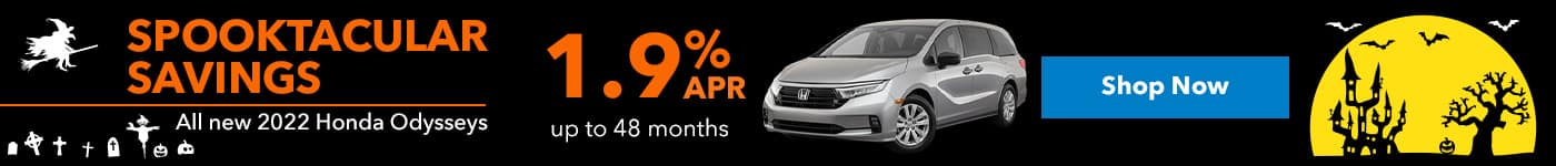 All new 2022 Honda Odysseys 1.9% up to 48 months