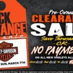 Black & Orange Pre-Owned Tag Sale or No Payments All Summer on All New Harleys
