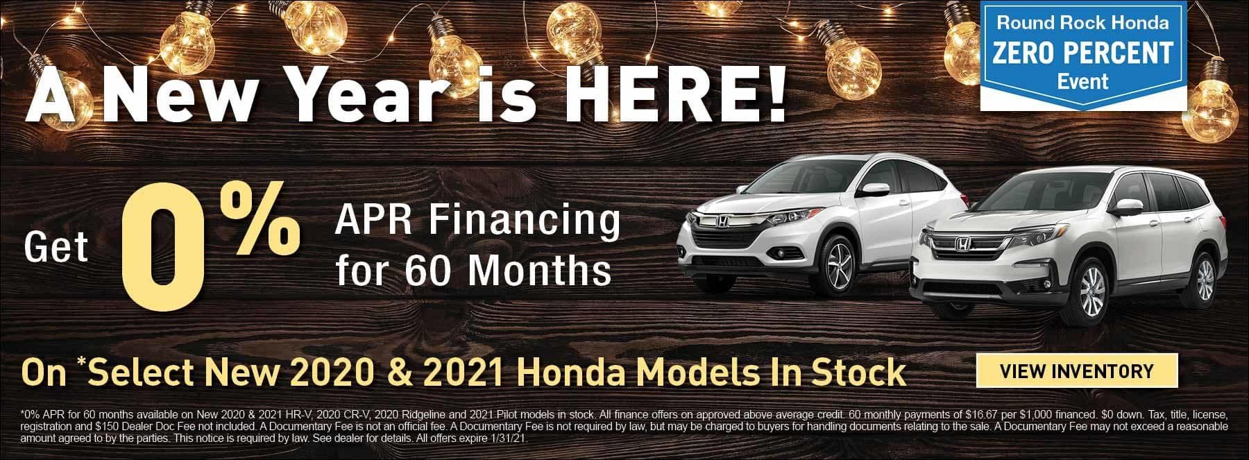 0 Percent APR Financing for 60 Months