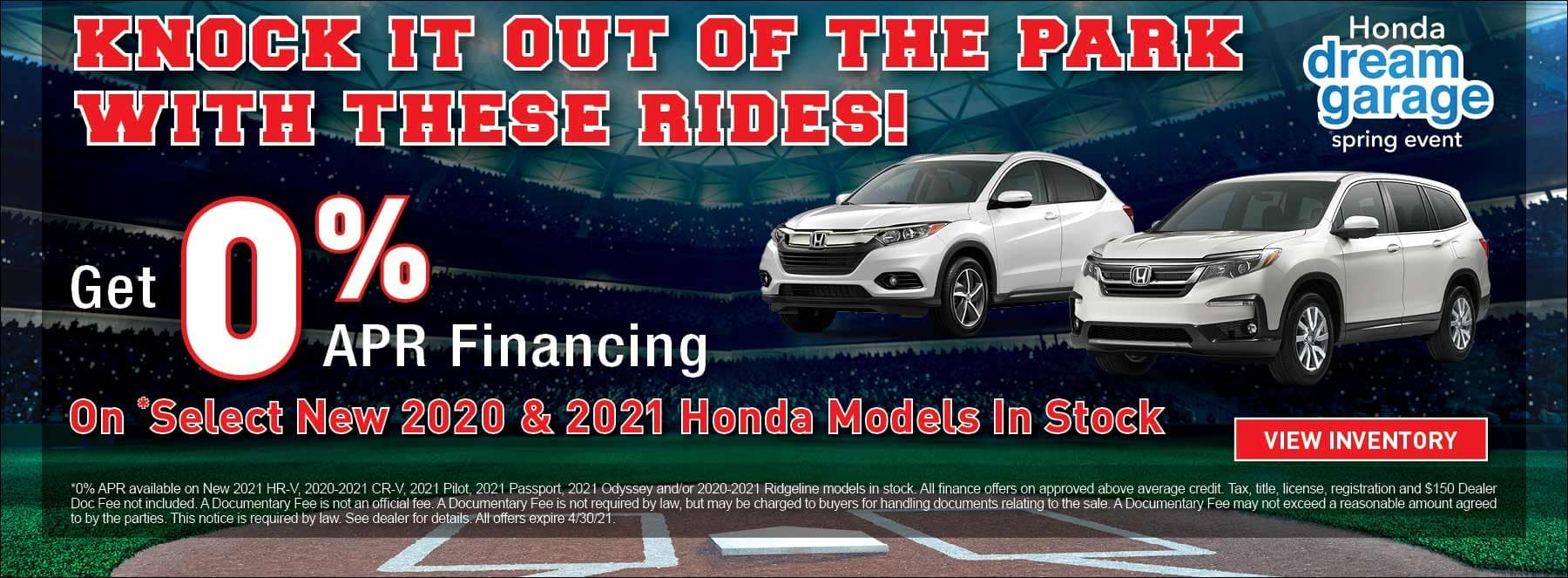 0% APR Financing on select new 2020 & 2021 Honda models in stock