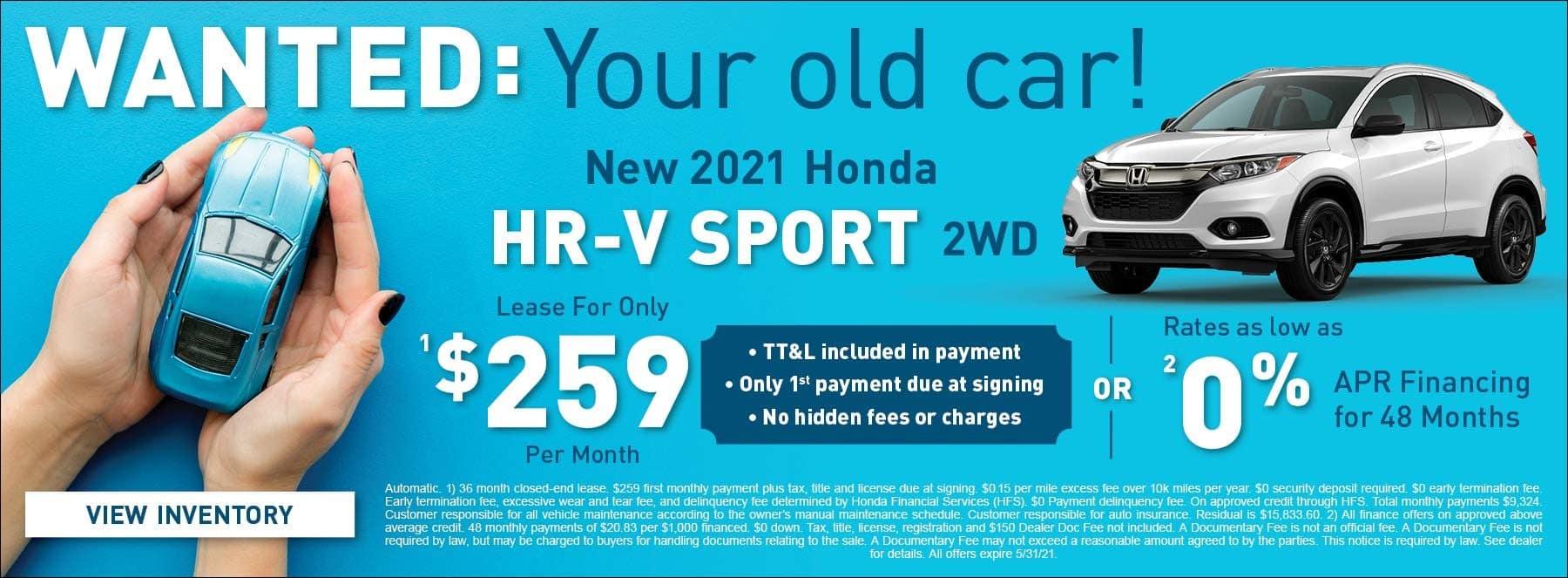 New 2021 Honda HR-V Sport 2WD