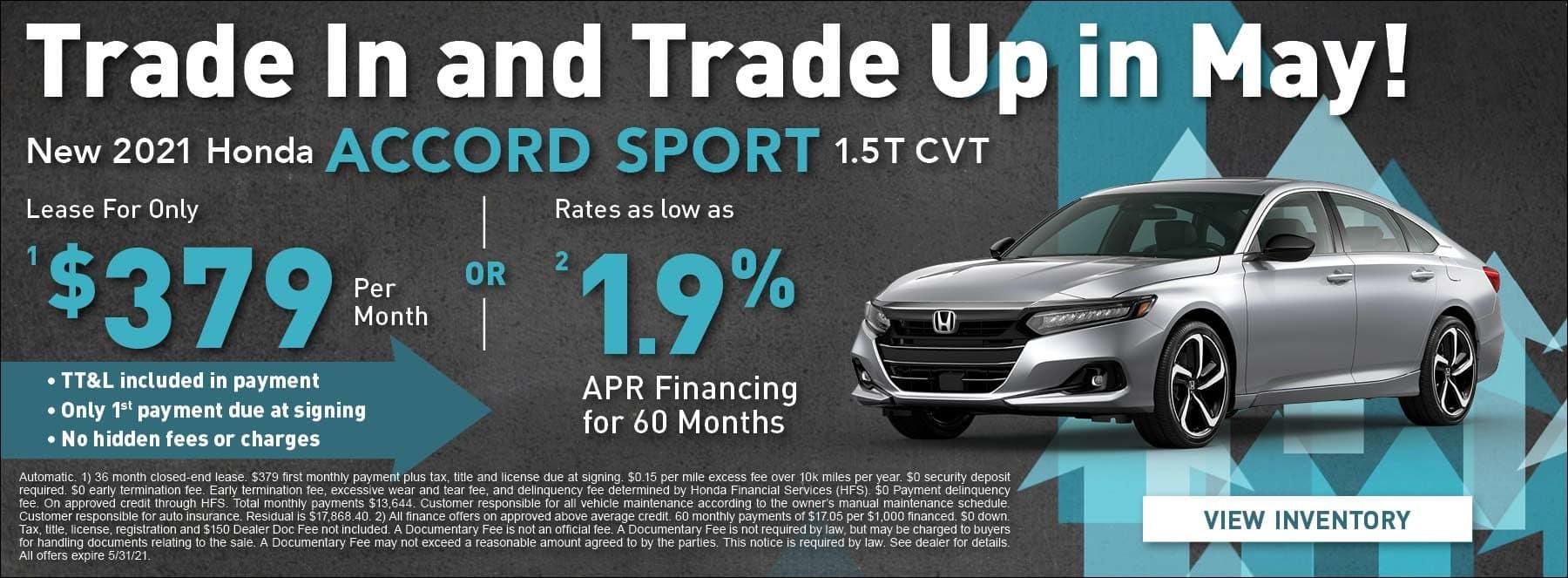 New 2021 Honda Accord Sport 1.5 CVT