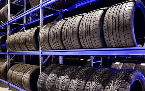Racks of tires