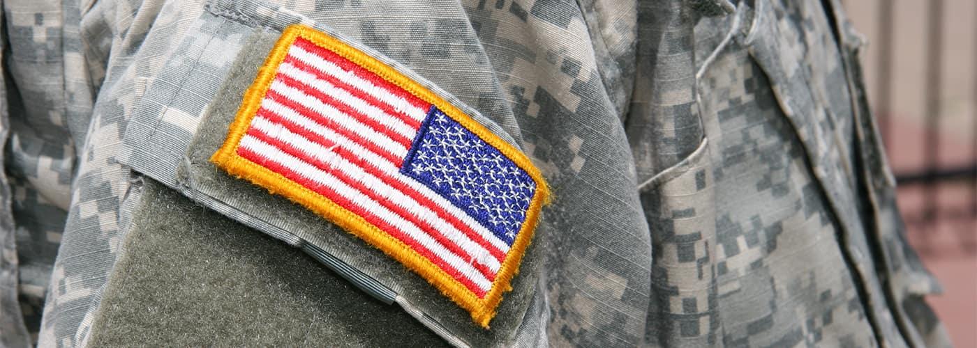 Military flag on uniform
