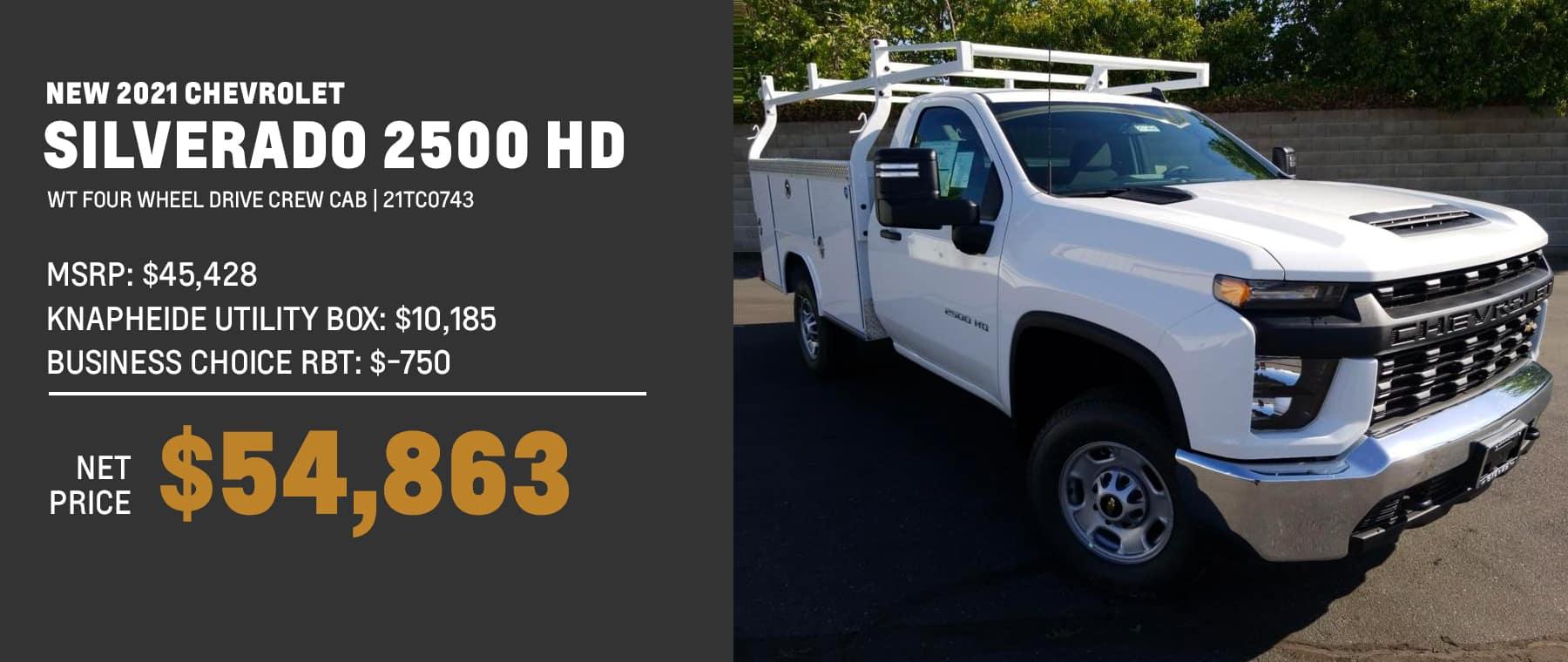 21TC0743 MSRP: $45,428 knapheide utility box: $10,185 business choice rbt: $-750 net price: $54,863