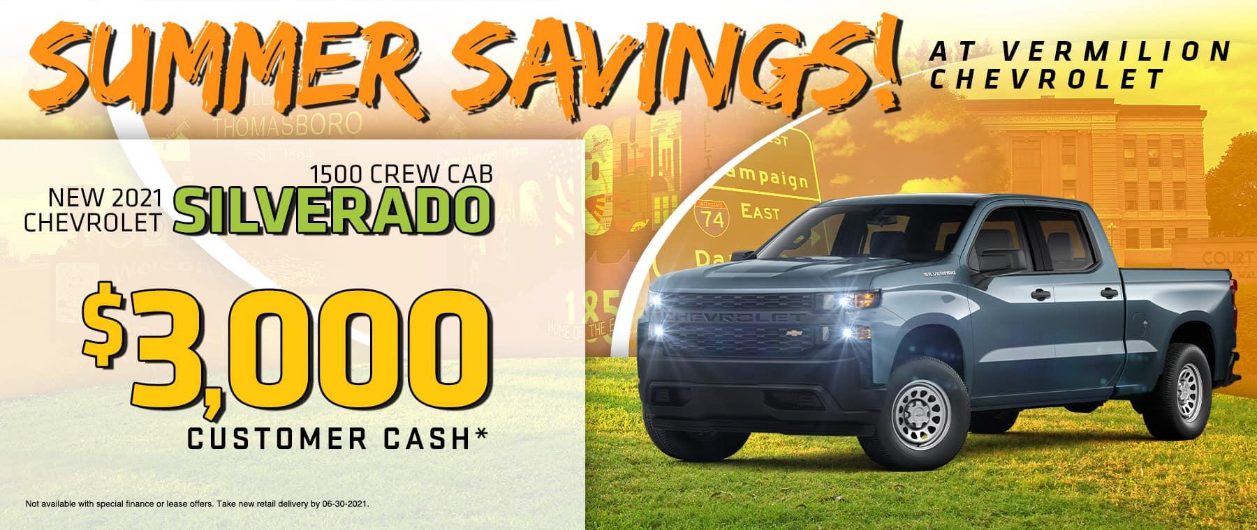2021 CHEVROLET SILVERADO 1500 CREW CAB$3,000 CUSTOMER CASH*